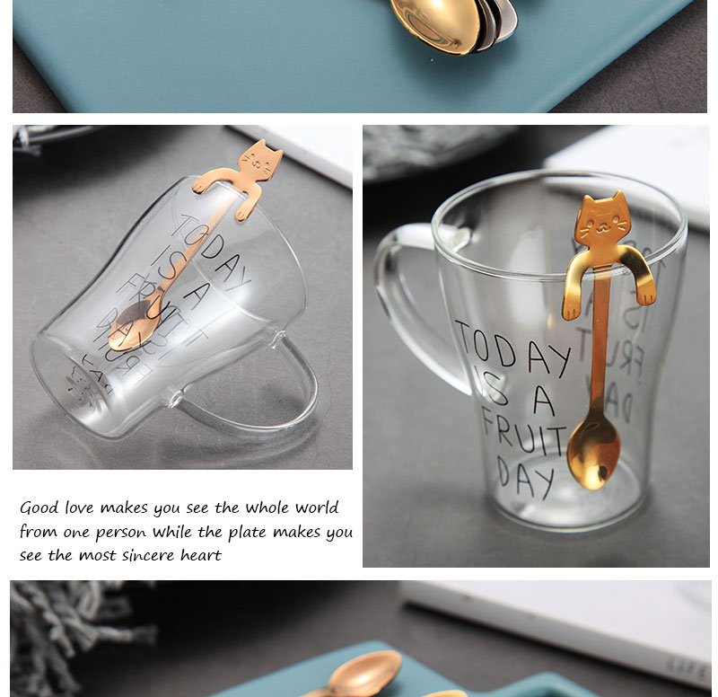 EIMAI Creative Stainless Steel Cartoon Cat spoons Ice Cream Dessert Long Handle Coffee&Tea Spoon Tableware Kitchen Tool A18
